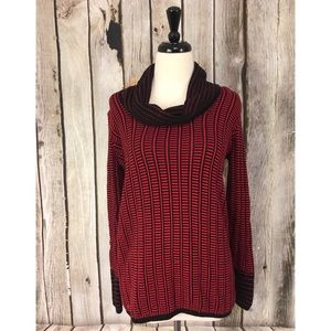 Calvin Klein Red Striped Cowl Neck Sweater